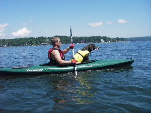 Life vests for dogs are a good idea--especially if your dog doesn't swim well. (EasternSlopes.com)