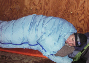 Cozy at last! Unable to get the cabin comfortably warm, we retreated early to winter sleeping bags and  spent the long night in perfect comfort. Getting up in the morning was tougher . . .