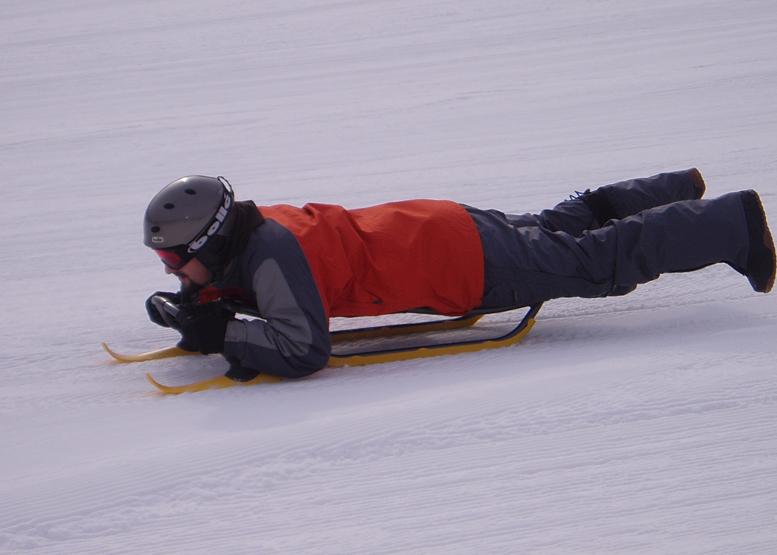 Many active winter sports have a long learning curve. Sledding isn't one.
