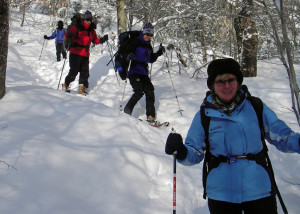 Two Miles to Home. The only way to reach the High Cabin in winter is to snowshoe or ski up two miles of trail. Reaching your goal brings a sense of accomplishment. (EasternSlopes.com photo)
