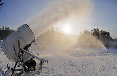 Fan guns blow a LOT of snow, fast! (King Pine photo)