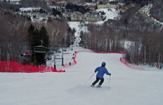 Some, but not all of the trails at Jiminy are steep, straight shots down the hill on perfect corduroy. They all lead to the bustling base area, (EasternSlopes.com)