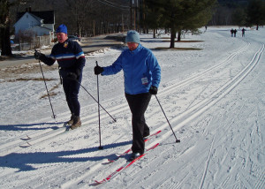 Cross country skiing at Jackson XC isn't just for super-athletes! Whatever your fitness level, you can improve it with a winter morning on cross-country skis. (Tim Jones/EasternSlopes.com)
