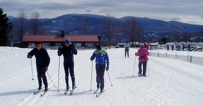 A beautiful day, rental snowshoes, and a great time at the Trapp Family Lodge!