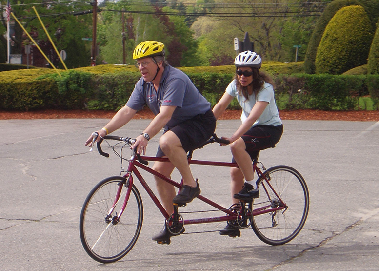 "We decided to go for a ""bicycle built for two"" That way, I can't possibly outdistance her. . . ."