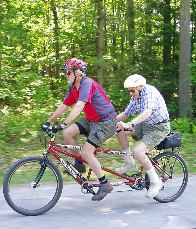 Riding stoker doesn't require a lot of strength, nor does it require any navigation or shifting. So it's a great way to get an older person out and enjoying.