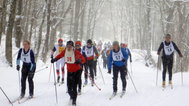 Racers climb the long first hill of their race at The Balsams )David Shedd photo)