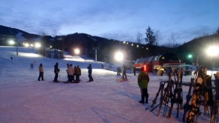 Probably the emptiest we've ever seen Sunday River's South Ridge base area; clearly, night skiing in cold weather is the way to have trails to yourself! (Tim Jones photo)