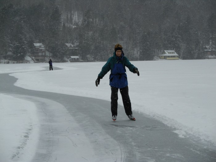 After 15 minutes of practice on Nordic Ice Skates you too could be swishing around Lake Morey confidently on the 4.5 mile trail.  Pat Lyon-Surrey photo.