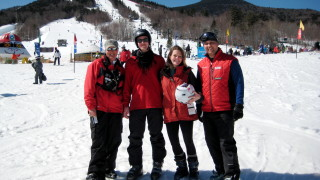 Sam and me with our fabulous instructors, Lisa and Clarence. I used their techniques the rest of the day, and already feel like a better skier.