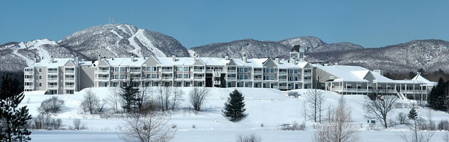 Manoir des Sables in Orford, Quebec, with Mont Orford in view. (Hotels Villegias photo)