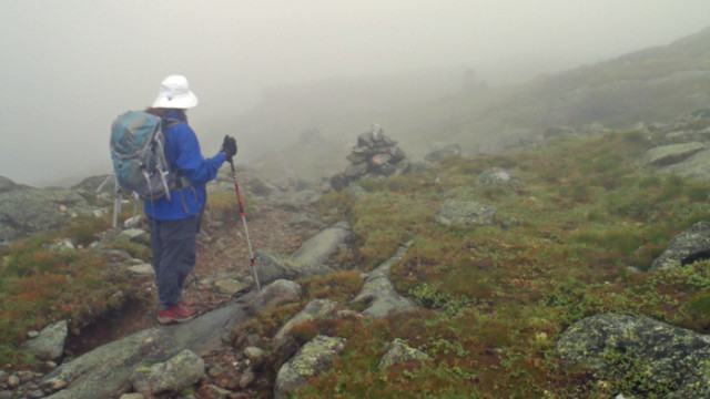 Much of this hike found us scrambling over slippery, wet rocks--be prepared for bad weather in the high Presidentials! (Tim Jones photo).