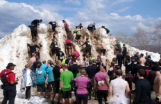 Ever wanted to climb a glacier while soaking wet, without gloves or boots or an ice axe?  You'd be in good company at the Tough Mudder! (David Shedd/EasternSlopes.com)
