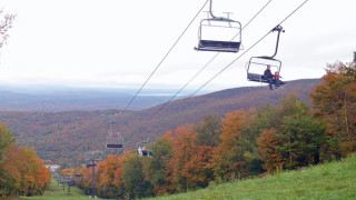 Foliage season had yet to get started in most of New England when we found this panorama on Mont Sutton in Quebec. (Tim Jones photo)