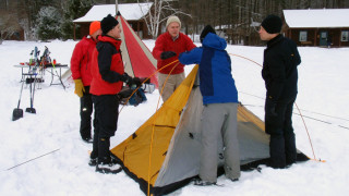 "Setting up a  ""cold camp"" at the Hulbert Outdoor Center's Winter Skills Day in 2010, (Susan Marean Shedd photo)"
