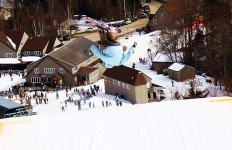 """Skiers were """"flipping"""" over the quality and conditions in Waterville Valley's Exhibition park (David Shedd photo)"""