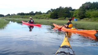Circumnavigating Pochet Island in Pleasant Bay on Cape Cod with Jonathan Palino and Jodi Swain of Cape Kayaking begins with a paddle across relatively opn water before you turn into an ever-narrowing channel. (Tim Jones/EasternSlopes.com photo)