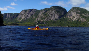 Though the wind kept us in Eternite Bay and wouldn't let us paddle the main Fjord, the paddling scenery was still spectacular. (Tim Jones/EasternSlopes.com photo)