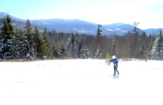 Enjoying the view while cross-country skiing at West Branch Pond Camps. (Tim Jones photo)