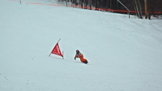 Snowboarders enjoyed the great conditions, racing in packed powder on Boris Badenov. (David Shedd photo