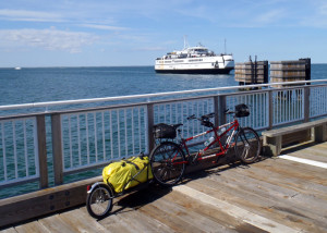 Our tandem touring bike and BOB trailer wait patiently for the ferry to dock at Oak Bluffs and take us to Woods Hole.(Tim Jones/EasternSlopes.com photo)