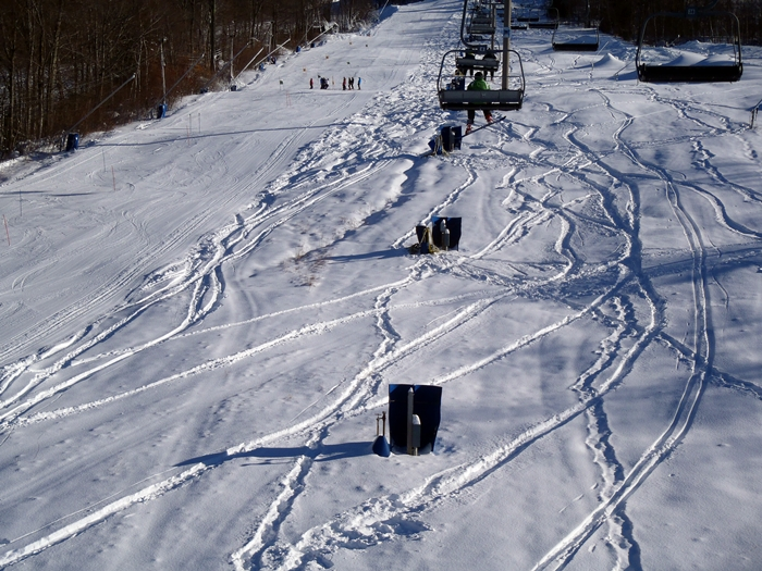 What's this? Powder? In December? The day AFTER a storm? That's the magic of a weekday at Cranmore; nobody around to get in the way of your skiing! (David Shedd/EasternSlopes.com)