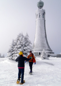 At the summit of Greylock, we met Sweep's friend Matt Albert, who had snowshoed up by a different route. (Tim Jones/EasternSlopes.com)