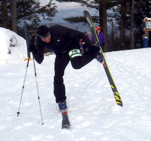 A skier showing real race technique in removing his skins; I looked NOTHING like that! (EasternSlopes.com photo)