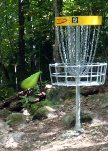 "Most ""pay-for-play"" Disc Golf courses use the Innova Disc Catcher ""holes."" If you don't hit the chains squarely, your disc bounces away. (EasternSlopes.com)"