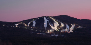 At Pats Peak, the whole mountain is lit for night skiing. Ditto at Crotched Mountain. (Pats Peak)