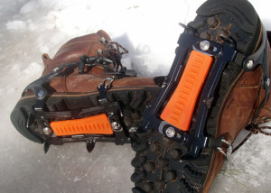 The Hillsound Cypress 6 Instep crampons are rock solid on moderate terrain, not so useful on steeps. (EasternSlopes.com)