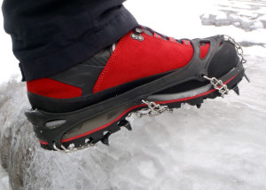 Trail Crampons from Hillsound are  perfect for traction on slanted trails covered with crust and ice. Only when it gets steeperdo you need a crampon with bigger spikes. (EasternSlopes.com photo)