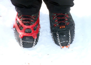 Kahtoola MICROspikes versus YakTrax XTR Extreme. Which works better on this type of packed snow? There's one easy wway to find out (EasternSlopes.com)