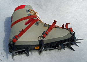 My, what big teeth you have . . .If you're going to venture where mountaineering crampons are needed, make sure you have the skills and other equipment you need for safety. (EasternSlopes.com)
