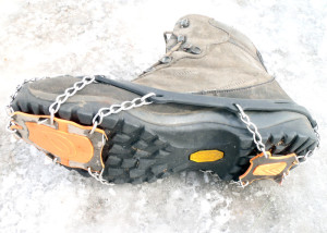 "The ""anti-balling plates"" on the YakTrax XTR Extreme help keep we snow from packing into the cleats and reducing traction. (EasternSlopes.com)"
