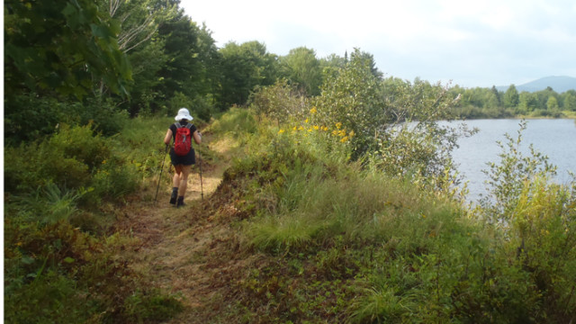 The Exped Cloudburst 25 is a perfect grab-and-go pack for a quick summer hike along the Grand Falls Trail from Grand Falls Hut in Maine. (EasternSlopes.com)