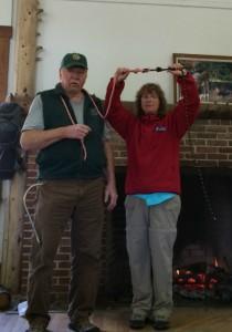 Red Merker and Jesse Tichko demonstrating the loop-to-loop knot with climbing rope. (Deborah Lee Luskin/EasternSlopes.com)