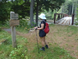 The beauty of hiking to the Maine Huts is that you don't need to carry a big, heavy backpack, especially. Mine was a bit bigger and heavier than Marilyn's, however. (EasternSlopes.com)