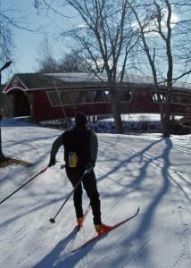 Snow covered bridge! You can ski right over the Ellis River on this beautiful covered bridge in Jackson, NH on the network of trails maintained by Jackson XC. (Tim Jones/EasternSlopes.com)