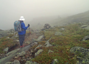 Much of this hike found us scrambling over slippery, wet rocks--be prepared for bad weather in the high Presidentials! (Tim Jones/EasternSlopes.com photo).