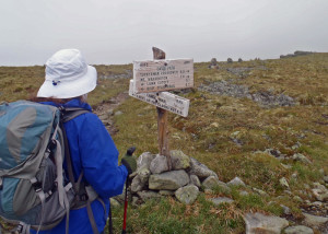 Major trail junctions on top of Mount Washington have clear signs to show you the way. These are especially helpful when the fog rolls in. Be sure you carry a compass . . .(Tim Jones/EasternSlopes.com photo)
