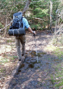 You can't always count on hiking trails to be dry . . .(Tim Jones/EasternSlopes.com photo)
