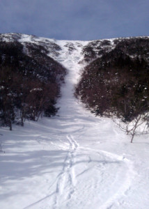 Just to whet your appetite for the experience, this is what the upper part of Gulf Of Slides ski trail looks like on a bluebird morning with fresh snow. (Danielle Jepson/Appalachian Mountain Club)