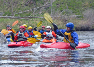 Taking a whitewater kaying class like this one at Zoar Outdoor in Charlemont, MA, is the best way to safely learn whitewater paddling skills. (EasternSlopes.com)