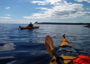 Marilyn Donnelly is on the lookout for whales as she paddles Baie Ste. Catherine at the mouth of Saguenay Fjord in Quebec. We eventually had several minke whales surfacing all around us. (EasternSlopes.com)