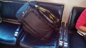 Go Duffel set up as carry-on luggage