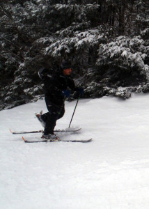 Going uphill on AT, or Telemark skis or a split snowboard lets you enjoy an endorphin high followed by an adrenaline rush. (EasternSlopes.com photo)