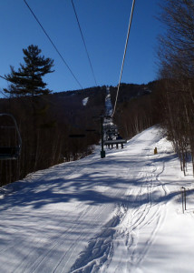 After 1400 feet of high-speed turns on flawless snow, the ride up was a welome respite. (EaasternSlopes.com photo)