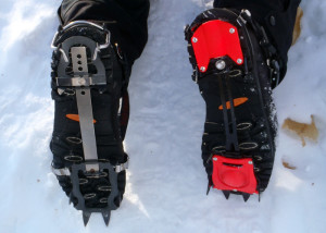 A step up in trail traction aids for hikers are the KTS Steel Crampon (left) and the Hillsound Trail Crampon Pro (right). Both are adustable for a wide range of footwear. (EasternSlopes.com)