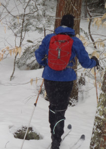 Backcountry skiing in a snowstorm, you'll appreciate that the Exped Cloudburst 25 is low-profile, lightweight and waterproof. (EasternSlopes.com)